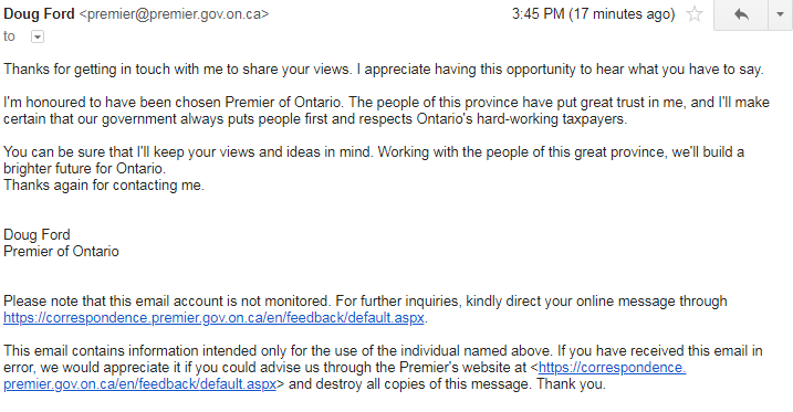 First response from Doug Ford