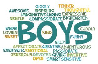 Word cloud of positive attributes of boys