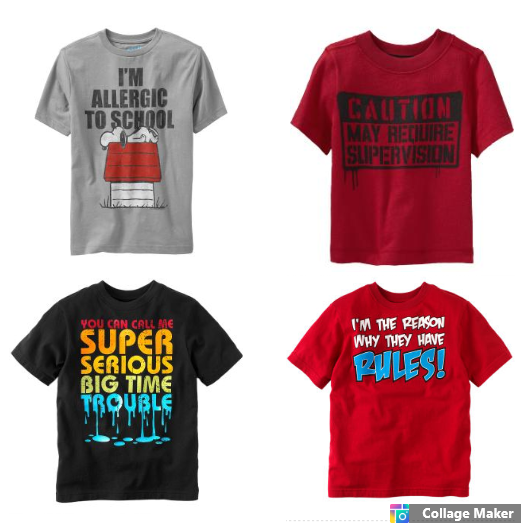 T-shirts with messages about boys being brats